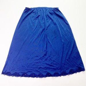 Vintage Dark Navy Blue Lace Trim Skirt Slip 70s